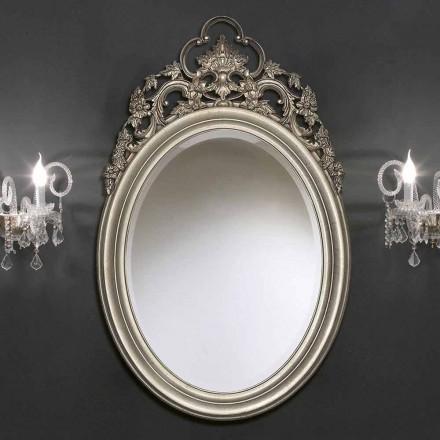 Silver ovala väggspeglar, handgjorda guld producerat i Italien Giorgio