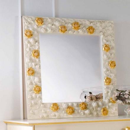 Mirror designer vägg dekorerad med rosor Flower