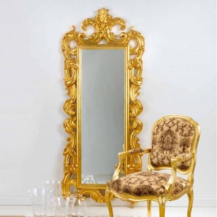 Mirror golv / vägg klassisk design, bladguld fullföljande Guerin