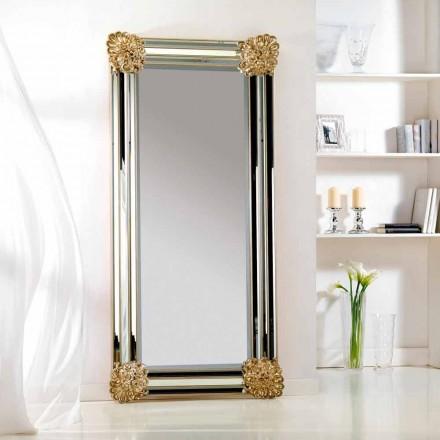 Spegel golv / vägg design, ram Luti wood, 96x196 cm
