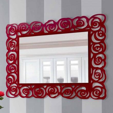 Stort modernt väggspegel i rött plexiglas - Rosalinda