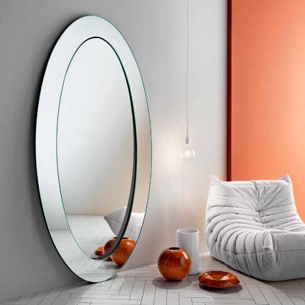 Modern oval fristående spegel med lutande ram tillverkad i Italien - Salamina