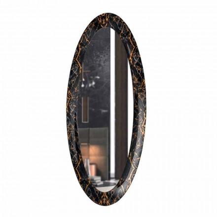 Oval designspegel med marmoreffektram tillverkad i Italien - Denisse