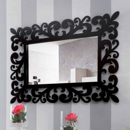 Stor rektangulär väggspegel i modern design i svart trä - Manola