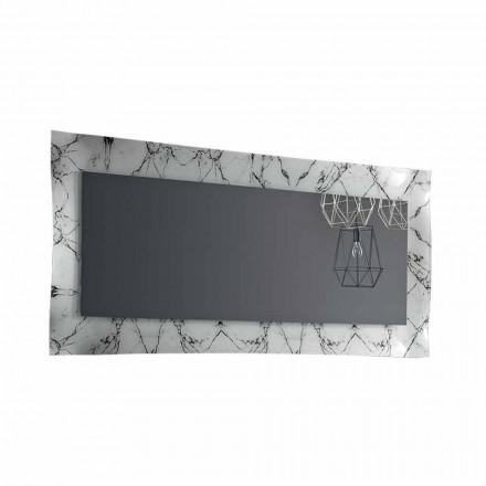 Rektangulär designspegel med glasram Tillverkad i Italien - Eclisse