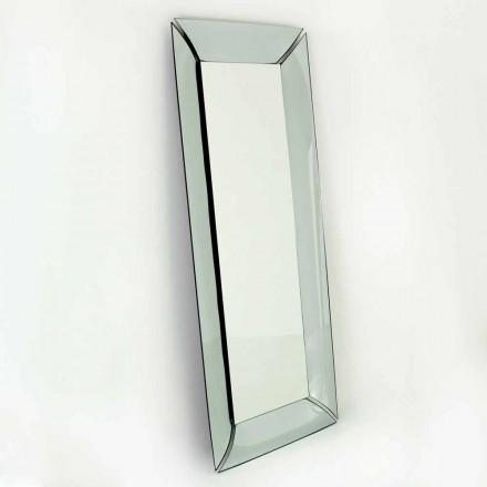 Rektangulär designspegel i speglad kristall Tillverkad i Italien - tvilling