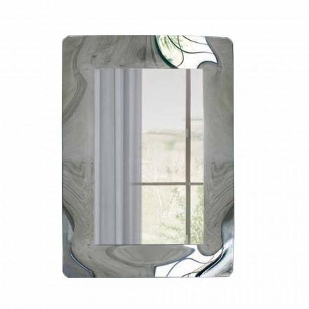 Modern rektangulär spegel med böjd glasram Tillverkad i Italien - Vira