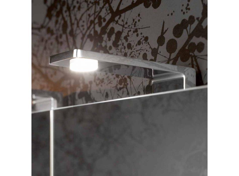 2-dörrsspegel med silverbehållare i aluminium och kromdetaljer - Maxi