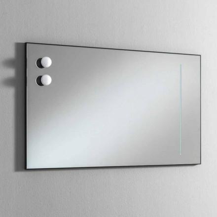 Väggbadrumsspegel med 2 lampor och svart ram Tillverkad i Italien - Ram