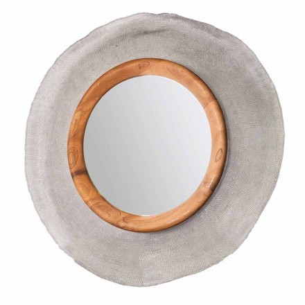 Modern väggspegel i metall och teak Monno