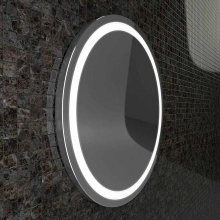 Spegel med kanter av rostfritt stål, modern design LED-lampor Charly