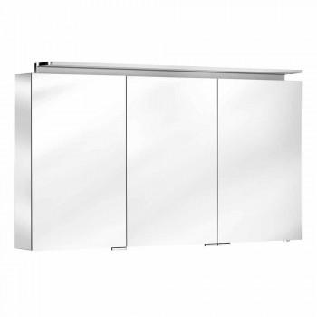 Modern 3-dörrars väggskåpsspegel med invändiga hyllor - Bramo