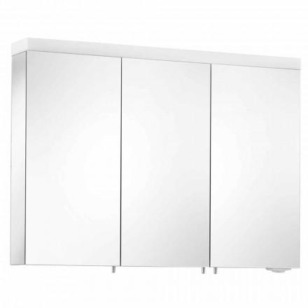 Förvaringsspegel med 3 dörrar i silvermålad aluminium - Alfio