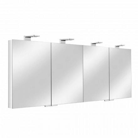 Spegelbehållare med 4 kristalldörrar med 12 hyllor och 4 LED-lampor - Maxi