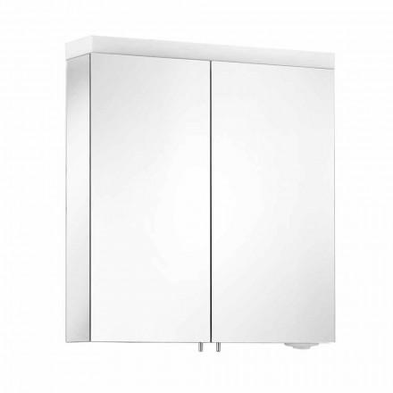 Spegel med 2 dörrar i silvermålad aluminium, modern Alfio