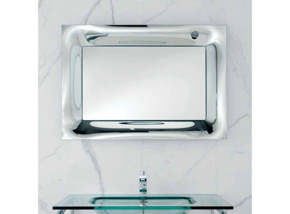 Badrum spegel ram smält glas silver modern design Arin