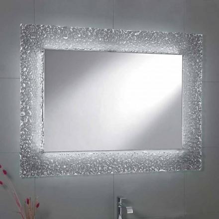 Mirror modernt badrum med dekorativt glas ram och LED-lampor Tara