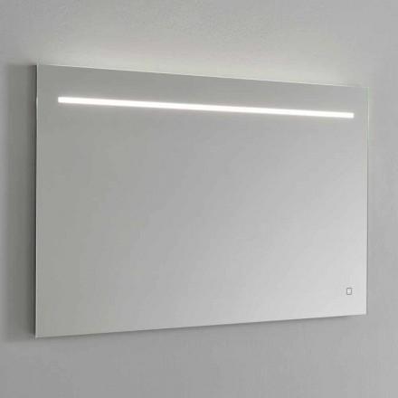 Modern väggspegel med LED-ljus och stålram Tillverkad i Italien - Yutta