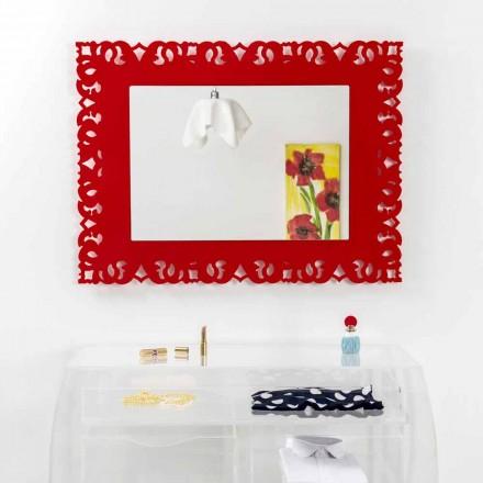 Mirror röd vägg med dekorativa makramé Tonya gjort i Italien
