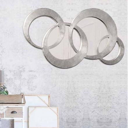 Väggspegel med två speglar hand dekorerad med Ball Silver