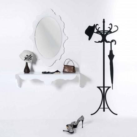 vit vägg spegel utformning Joy ram dekorerade, tillverkad i Italien