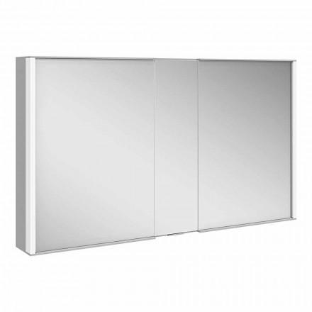 Modern väggspegel med 3 dörrar i silvermålad aluminium - Demon