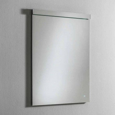 Väggspegel med integrerat LED-ljus i rostfritt stål Tillverkad i Italien - Tuccio