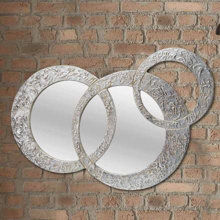 Design väggspegel i silverblad tillverkad i Italien Cortina