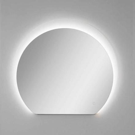 Modern väggspegel med sandblästrad detalj och LED Tillverkad i Italien - Rialto