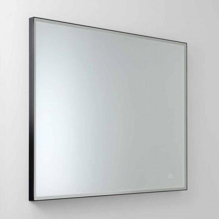 Fyrkantig väggspegel med LED i satinglas Tillverkad i Italien - Mirro