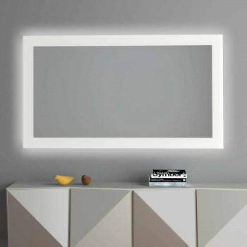 Bakgrundsbelyst väggspegel med sandblästrad ram Tillverkad i Italien - Edigio