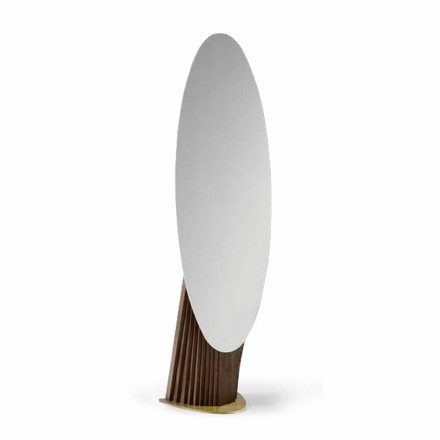 Lyxig golvspegel i ask och metall tillverkad i Italien - Cuspide