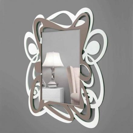 Stor modern design vit och beige dekorativ väggspegel - Bocchio