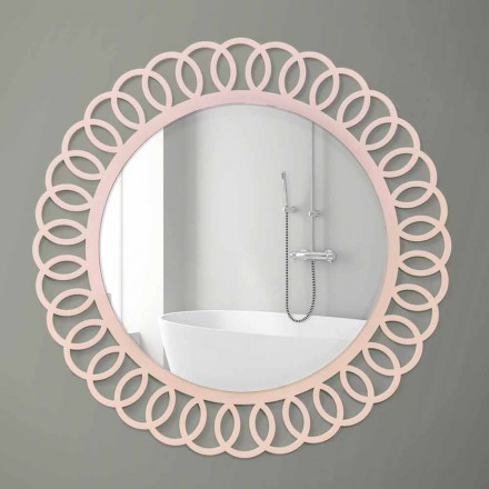 Stor väggspegel av dekorativ och modern design i rosa trä - krona