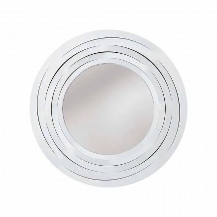 Modern cirkulär väggspegel i färgat järn tillverkad i Italien - Oregano