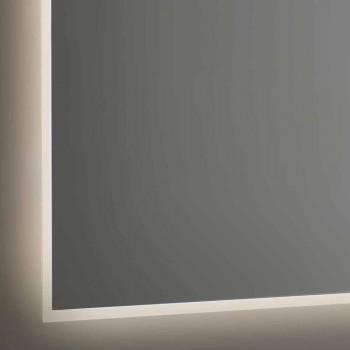 Bakgrundsbelyst badrumsspegel med sandblästrad ram Tillverkad i Italien - Floriana
