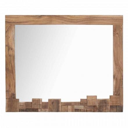 Modern rektangulär väggspegel med akaciaträram - Eloise