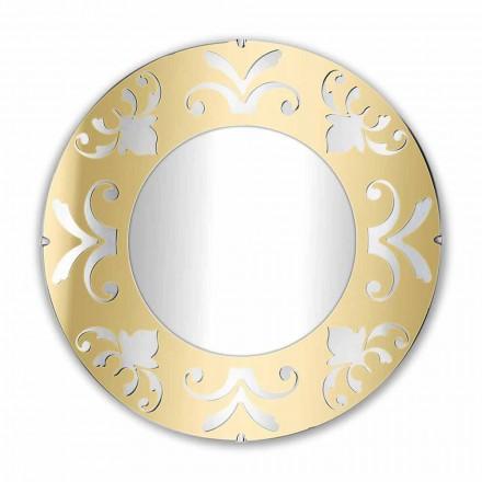 Rund designspegel i guld silver eller brons plexiglas med ram - Foscolo