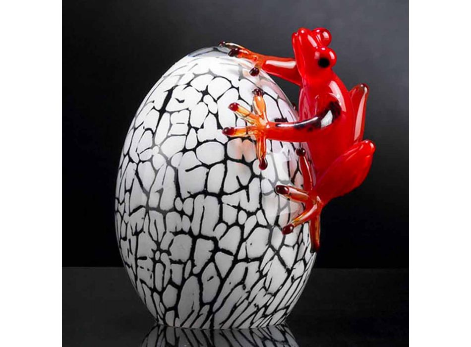 Äkta färgad äggformad statyett med groda tillverkad i Italien - Huevo