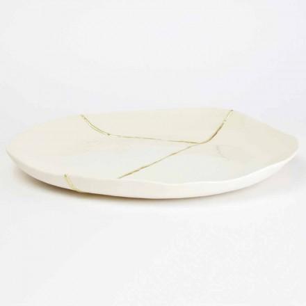 Rund betjäningsbricka i vitt porslin och guldbladdesign - Cicatroro