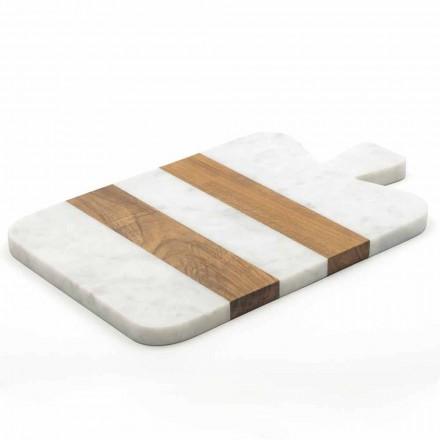 Vit Carrara marmor och trä tillverkad i Italien Design skärbräda - Evea
