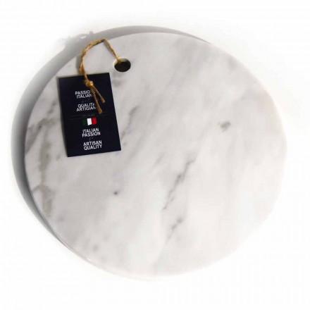 Rund design vit Carrara marmorskärbräda tillverkad i Italien - Masha