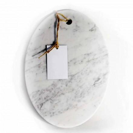 Modern oval skärbräda i vit Carrara marmor tillverkad i Italien - Masha