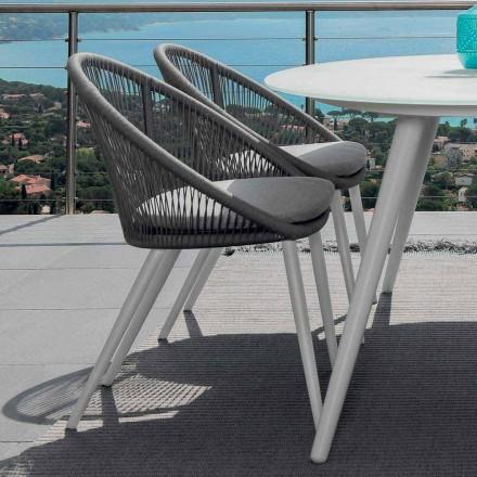 Talenti Rope trädgårdstol i målad aluminium tillverkad i Italien