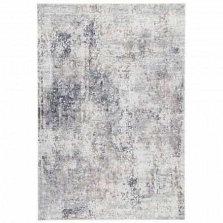 Design Beige matta med ritning i viskos och polyester - Occitania