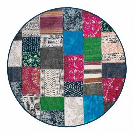 Rund etnisk matta i färgat bomullstyg - fiber