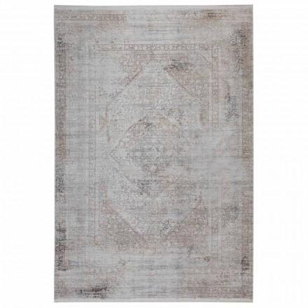 Halkfri matta i gråbeige akrilik och viskos med ritning - President