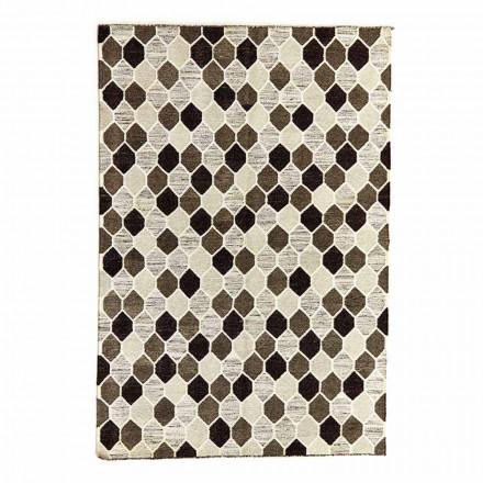 Matta med modern design med geometriskt mönster i ull och bomull - Tapioka