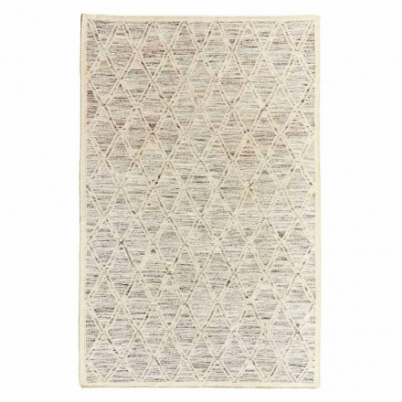 Modern matta i ull och bomull elfenben med fantasi för vardagsrum - peppo