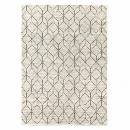 Modern handvävd matta med geometrisk design i ull för vardagsrum - Geome